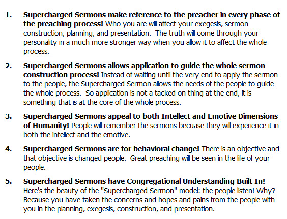 Supercharged Sermons make reference to the preacher in every phase of the preaching process