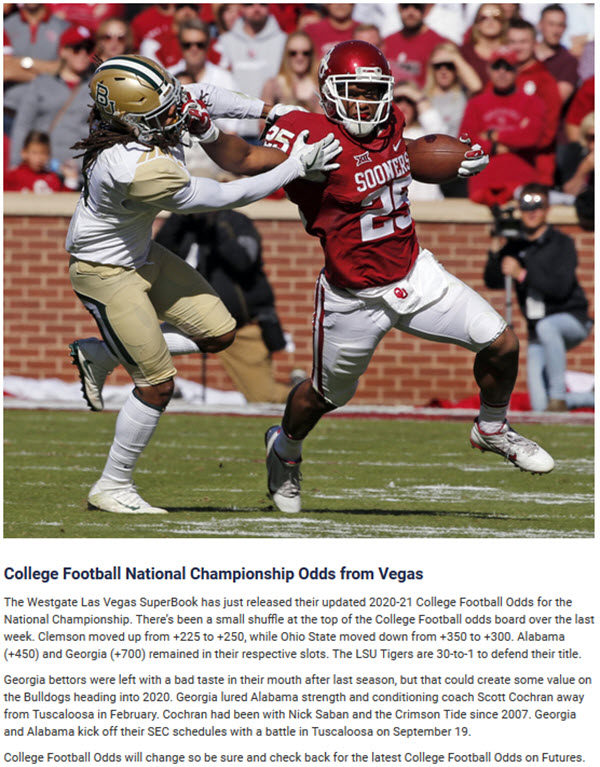 College Football National Championship Odds from Vegas