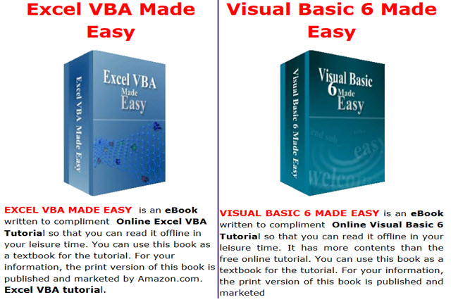 EXCEL-VBA-MADE-EASY AND VISUAL BASIC 6 MADE EASY