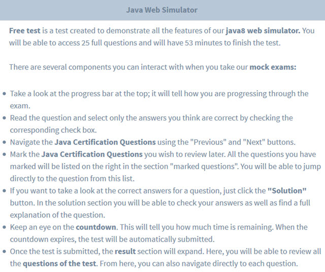 java certification exam questions