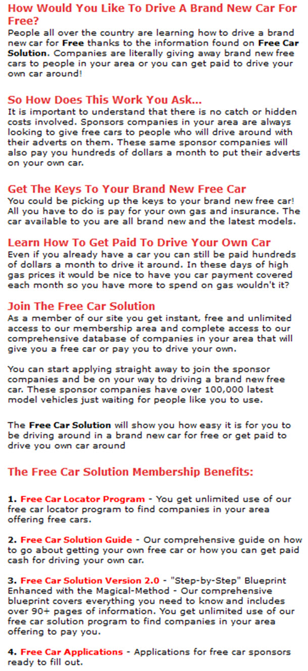 How Would You Like To Drive A Brand New Car For Free