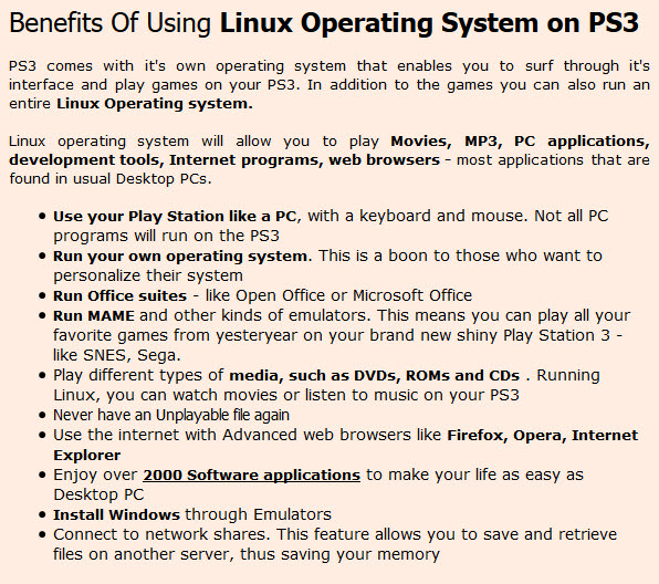 Linux Operating System on PS3