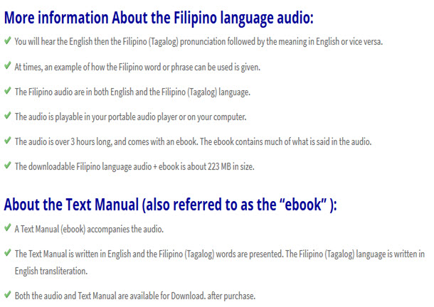 Filipino language audio