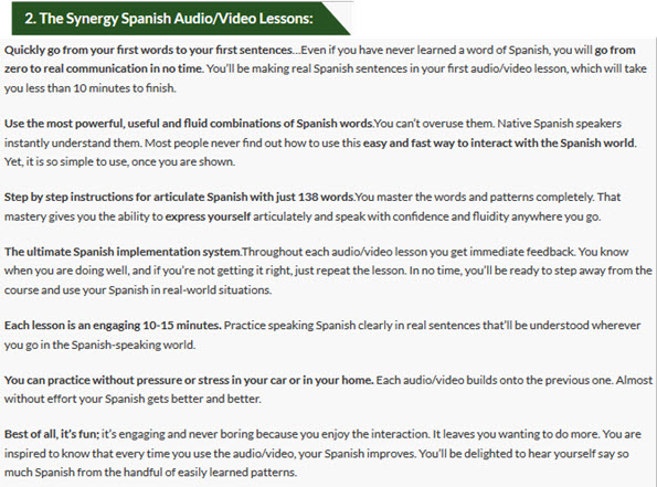 The Synergy Spanish Audio/Video Lessons
