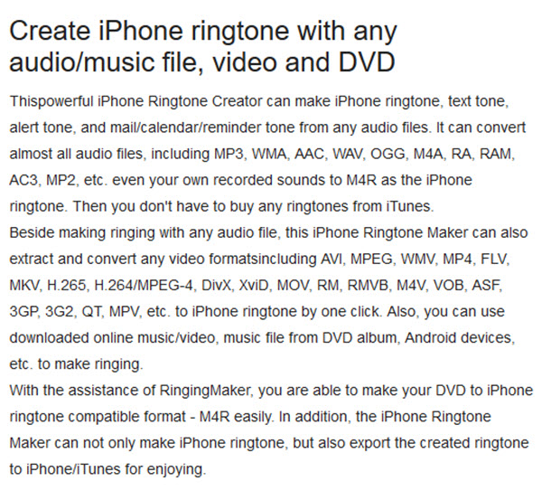 Create iPhone ringtone with any audio/music file