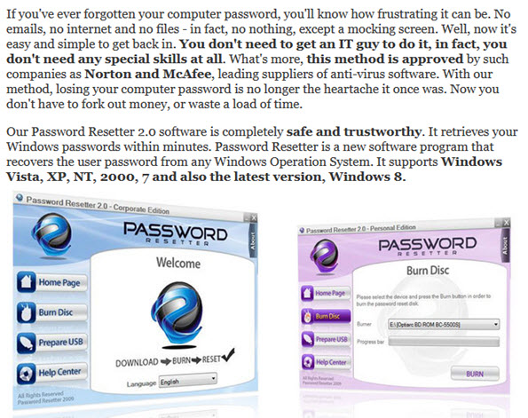 Password Resetter 2.0 software
