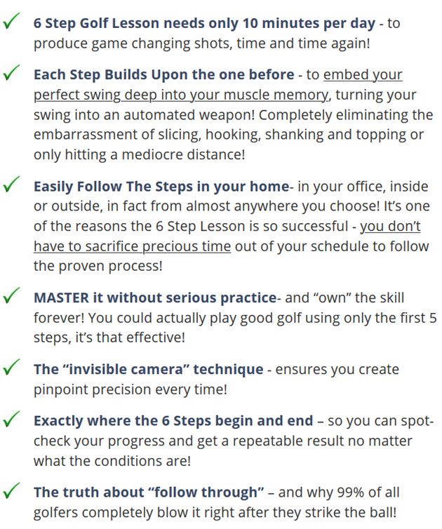 6 Step Golf Lesson needs only 10 minutes per day